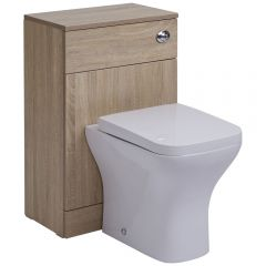 Mueble de Baño de MDF de Color Efecto Roble con Inodoro Integrado 76x50x30cm y Tapa de WC