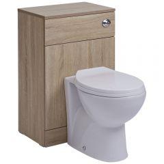 Mueble con Efecto Color Roble para Cuarto de Baño con Inodoro Integrado 76x50x30cm