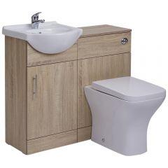Mueble para Cuarto de Baño con Lavabo e Inodoro de Cerámica con Mueble de MDF de Color Efecto Roble 41x78x30cm