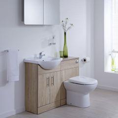 Mueble de Lavabo con Inodoro Integrado MDF Efecto Roble con 2 Puertas de 51x78x30cm