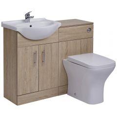 Mueble para Cuarto de Baño de MDF Efecto Roble con 2 Puertas, Inodoro y Lavabo de 51x78x30cm