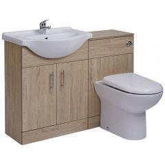 Mueble de Lavabo Efecto Roble de 1140mm con 2 Puertas con Inodoro Integrado