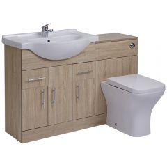 Mueble de Lavabo de 3 Puertas y 2 Cajones Efecto Roble con Inodoro Integrado 75x78x48cm de Cerámica y MDF