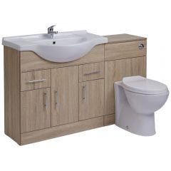 Mueble de Baño con Lavabo e Inodoro Integrado de Cerámica con 3 Puertas y 2 Cajones de MDF Efecto Roble de 85x78x48cm