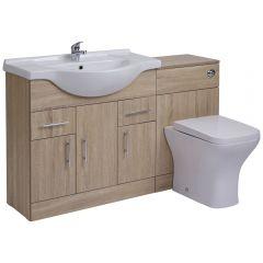 Mueble de Lavabo de 3 Puertas y 2 Cajones de MDF Efecto Roble con Inodoro Integrado de 85x78x48cm