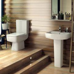 Conjunto de Baño con Lavabo e Inodoro WC en Cerámica - Minimalista