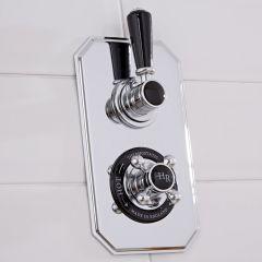 Mezclador de Ducha Termostático Empotrable Tradicional de Dos Funciones con Pomo y Embellecedore de Colo Negro - Topaz