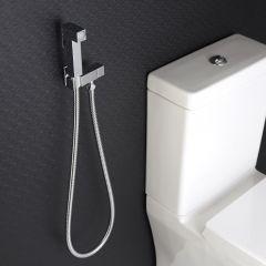 Kit de Ducha Higiénica para WC con Telefonillo de Ducha, Soporte Mural y Flexo