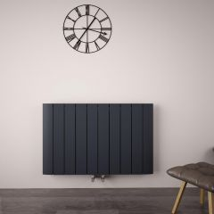 Radiador de Diseño Horizontal Con Conexión Central - Aluminio - Antracita - 600mm x 945mm x 46mm - 1279 Vatios - Aurora