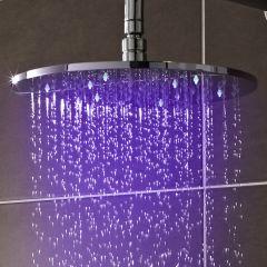 Alcachofa de Ducha Redonda LED Orientable de 300mm Realizada de Acero Inoxidable