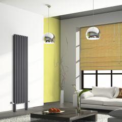 Radiador de Diseño Vertical Doble Con Pies de Soporte - Antracita - 2000mm x 472mm x 78mm - 1868 Vatios - Revive Plus