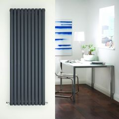 Radiador de Diseño Vertical Doble - Antracita - 1600mm x 590mm x 78mm - 2268 Vatios - Revive