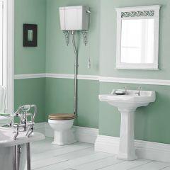 Conjunto de Baño con Inodoro WC con Tapa Cisterna Alta Suspendida y Lavabo de 560mm en Cerámica - Retro