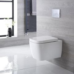 Inodoro WC Cuadrado Moderno Suspendido 545x350x500mm Tapa de WC Soft Close - Milton