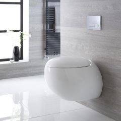 Inodoro WC Oval Suspendido 420x350x590mm con Tapa de WC Soft Close -  Langtree
