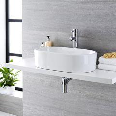Lavabo Sobre Encimera Oval de Cerámica 560x355mm con mini mezclador de lavabo - Otterton