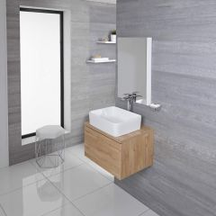 Mueble de Lavabo Moderno de 600mm de Color Roble Dorado con Lavabo de Sobre Encimera para Baño Disponible con Opción LED  - Newington