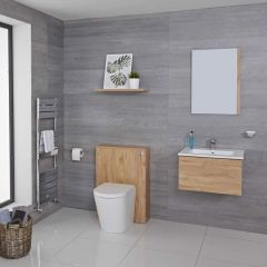 Mueble de Baño de 600mm Color Roble Dorado Completo con Cisterna, Inodoro y Lavabo Disponible con Opción LED - Newington