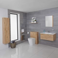 Mueble de Baño de 800mm Color Roble Dorado Completo con Cisterna, Inodoro con Lavabo, Armario de Pared y Espejo Disponible con Opción LED  - Newington