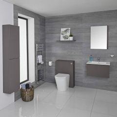 Mueble de Baño de 600mm Color Gris Opaco Completo con Cisterna, Inodoro con Lavabo, Armario de Pared y Espejo Disponible con Opción LED - Newington