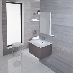 Mueble de Lavabo Mural Moderno de 600mm Color Gris Opaco con Lavabo Integrado para Baño Disponible con Opción LED - Newington