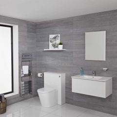 Mueble de Baño de 800mm Color Blanco Opaco con Inodoro y Lavabo Disponible con Opción LED - Newington