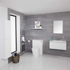Mueble de Baño de 800mm Color Blanco Opaco Completo con Cisterna, Inodoro con Lavabo, Armario de Pared y Espejo Disponible con Opción LED - Newington