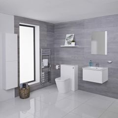 Mueble de Baño de 600mm Color Blanco Opaco Completo con Cisterna, Inodoro con Lavabo, Armario de Pared y Espejo Disponible con Opción LED - Newington