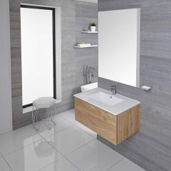 Mueble de Lavabo Mural Moderno de 800mm Color Roble Dorado con Lavabo Integrado para Baño Disponible con Opción LED  - Newington