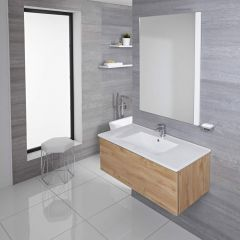 Mueble de Lavabo Mural Moderno de 1000mm Color Roble Dorado con Lavabo Integrado para Baño Disponible con Opción LED  - Newington