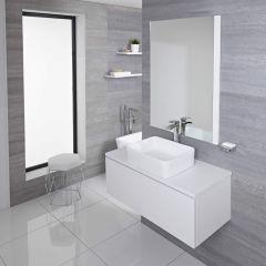 Mueble de Lavabo Mural de 1000mm de Color Blanco Opaco con Lavabo de Sobre Encimera Cuadrado para Baño Disponible con Opción LED - Newington