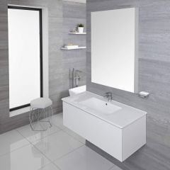 Mueble de Lavabo Mural Moderno de 1000mm Color Blanco Opaco con Lavabo Integrado para Baño Disponible con Opción LED  - Newington