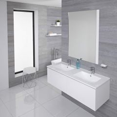 Mueble de Lavabo Mural Moderno de 1200mm Color Blanco Opaco con Lavabo Doble Integrado para Baño Disponible con Opción LED - Newington