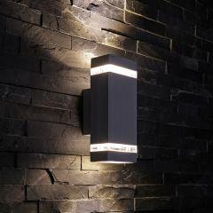 Biard Apliqué de Pared Exterior Bidireccional con Luz Ascendente y Desecendente con Diseño Cúbico Negro - Architect