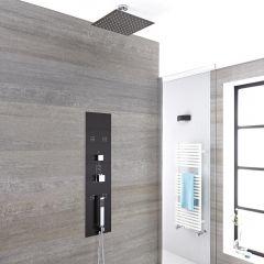 Panel de Ducha Empotrable Hidromasaje Minimalista Negro con Alcachofa de Ducha Fija de 300mm y Brazo de Ducha de Techo de 50mm - Llis