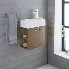 Mueble de Lavabo Suspendido con Acabado Color Efecto Roble 400x200x465mm con Lavabo Integrado - Langley