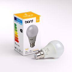 Biard Conjunto de 6 Bombillas LED B22 de 5W con Intensidad Luminosa No Regulable