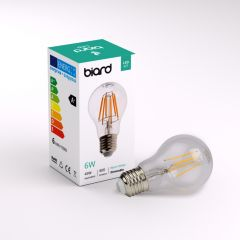 Conjunto con 6 Bombillas LED E27 6W con Filamentos e Intensidad Luminosa Regulable