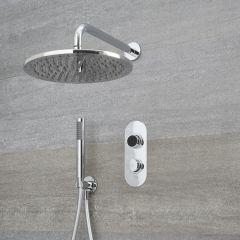Ducha Digital con Sistema de Control de 2 Salidas con Alcachofa de Ducha Redonda de 300mm, Brazo de Techo Mural y Telefonillo de Ducha - Narus