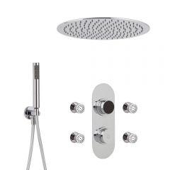 Ducha Digital con Sistema de Control de 3 Salidas con Alcachofa de Ducha Empotrable Redonda de 400mm, Telefonillo  y Jets de Ducha