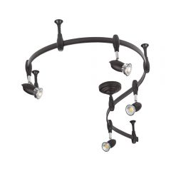 Biard Kit Completo con Rail Flexible Negro de 2m y 4 Focos LED de Carril - Forio