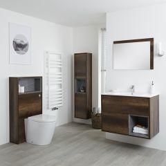 Conjunto de Baño?? con Diseño Abierto de Color Roble Oscuro Completo con Mueble Para Lavabo de 800mm, Mueble de Pared de 1500mm, Mueble de WC, Espejo, Lavabo, WC y Cisterna - Hoxton