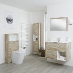Conjunto de Baño?? con Diseño Abierto de Color Roble Claro Completo con Mueble Para Lavabo de 800mm, Mueble de Pared de 1500mm, Mueble de WC, Espejo, Lavabo, WC y Cisterna - Hoxton