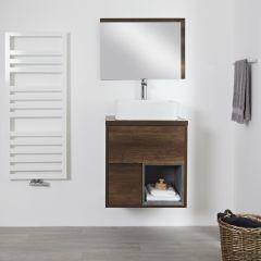 Mueble de Lavabo Mural de 600mm Color Roble Oscuro con Diseño Abierto con Lavabo de Sobre Encimera Cuadrado - Hoxton