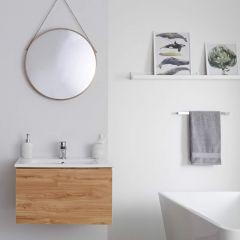 Mueble de Lavabo Mural Moderno de 600mm Color Roble Dorado con Lavabo Integrado para Baño Disponible con Opción LED  - Newington