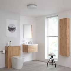 Mueble de Baño de 600mm Color Roble Dorado Completo con Cisterna, Inodoro con Lavabo, Armario de Pared y Espejo Disponible con Opción LED - Newington - Golden Oak