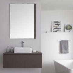 Mueble de Lavabo Mural de 1000mm de Color Gris Opaco con Lavabo de Sobre Encimera Cuadrado para Baño Disponible con Opción LED - Newington