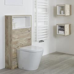 Mueble para Inodoro de 1150mm Color Roble Claro con Diseño Abierto - Hoxton