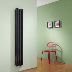 Radiador de Diseño Eléctrico Vertical Doble - Negro Lúcido - 1600mm x 236mm x 78mm - 1 Elemento de 1200W - Revive