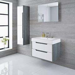 Mueble de Lavabo con Acabado Color Blanco Lacado 800x500x600mm con Lavabo Integrado - Newport